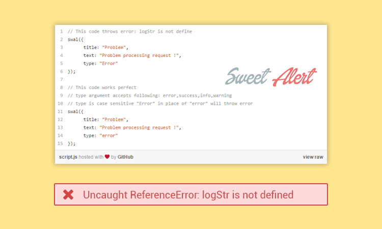 logStr not defined jquery sweetalert fix